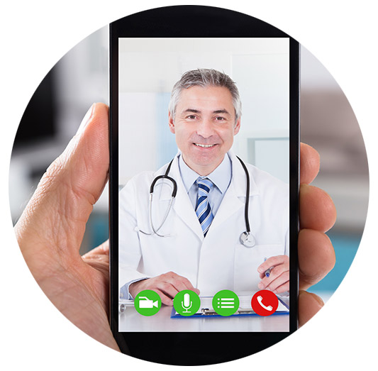A physician on a cell phone doing a telehealth call with his patient.