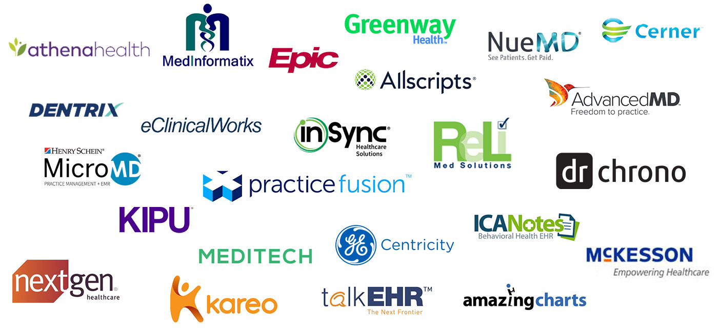 A variety of different EHR vendor logos representing a sub section of the number of EHRs that Smartlink has done an integration with.