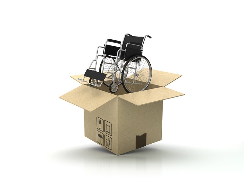 Cardboard Box with Wheelchair that has just been ordered.