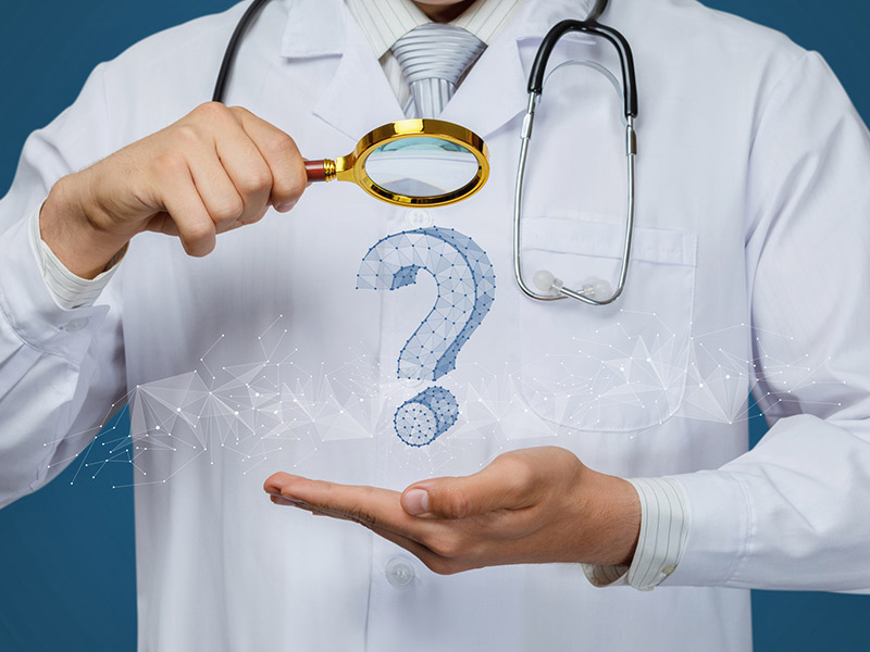 A physician holding a magnifying glass over a question mark symbolizing clinical decision support.